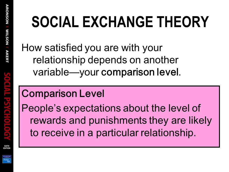 SOCIAL EXCHANGE THEORY How satisfied you are with your relationship depends on another variableyour comparison level.