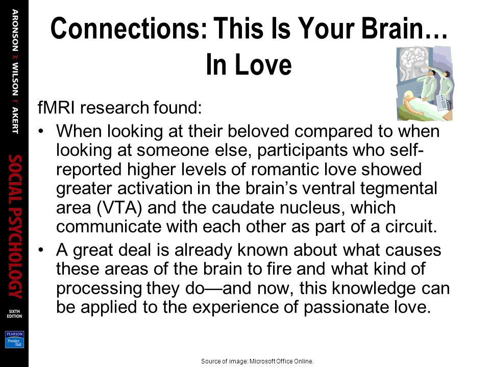Connections: This Is Your Brain… In Love fMRI research found: When looking at their beloved compared to when looking at someone else, participants who self- reported higher levels of romantic love showed greater activation in the brains ventral tegmental area (VTA) and the caudate nucleus, which communicate with each other as part of a circuit.