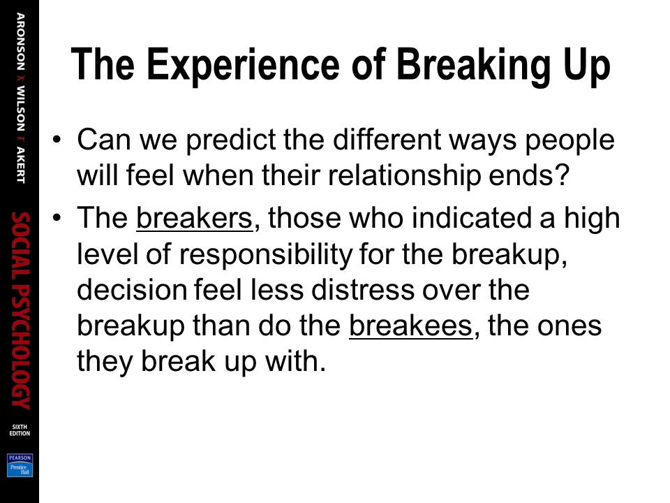 The Experience of Breaking Up Can we predict the different ways people will feel when their relationship ends.