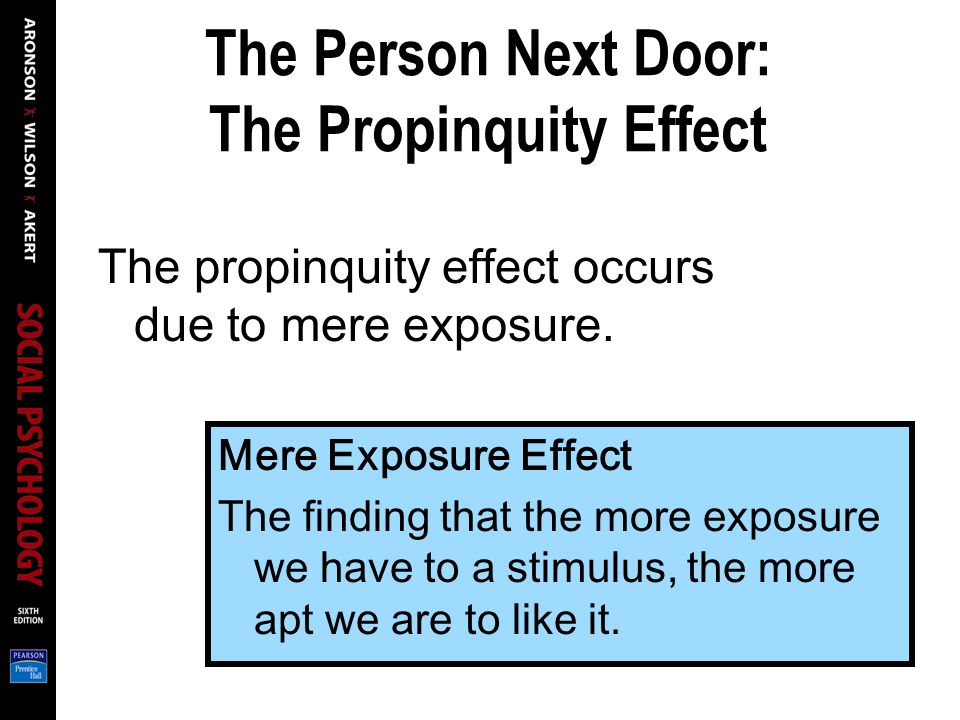 Mere Exposure Effect The finding that the more exposure we have to a stimulus, the more apt we are to like it.