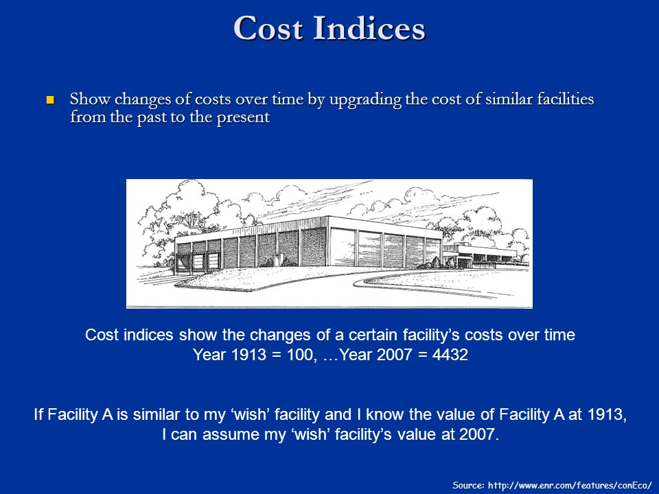 Cost Indices Source: http://www.enr.com/features/conEco/ Show changes of costs over time by upgrading the cost of similar facilities from the past to