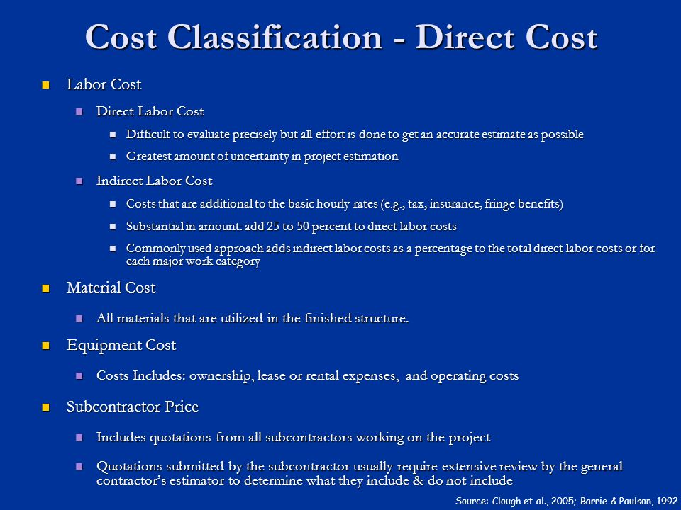 Cost Classification - Direct Cost Labor Cost Labor Cost Direct Labor Cost Direct Labor Cost Difficult to evaluate precisely but all effort is done to