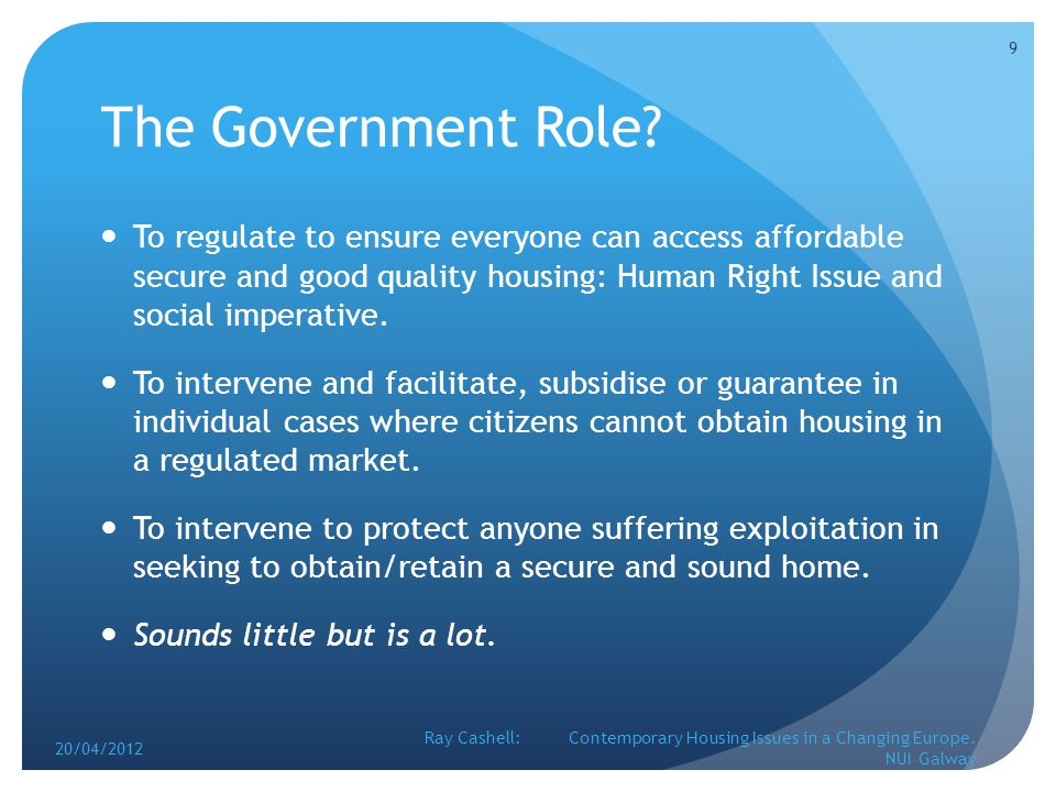 The Government Role.