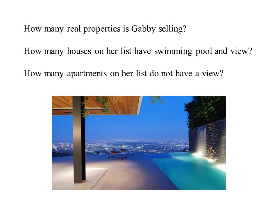 How many real properties is Gabby selling? How many houses on her list have swimming pool and view? How many apartments on her list do not have a view