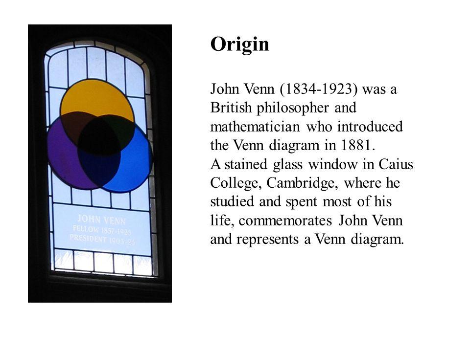 John Venn (1834-1923) was a British philosopher and mathematician who introduced the Venn diagram in 1881.
