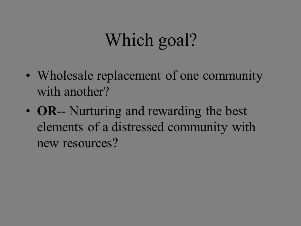 Conclusions Successful new communities are built from the successful parts of older communities.