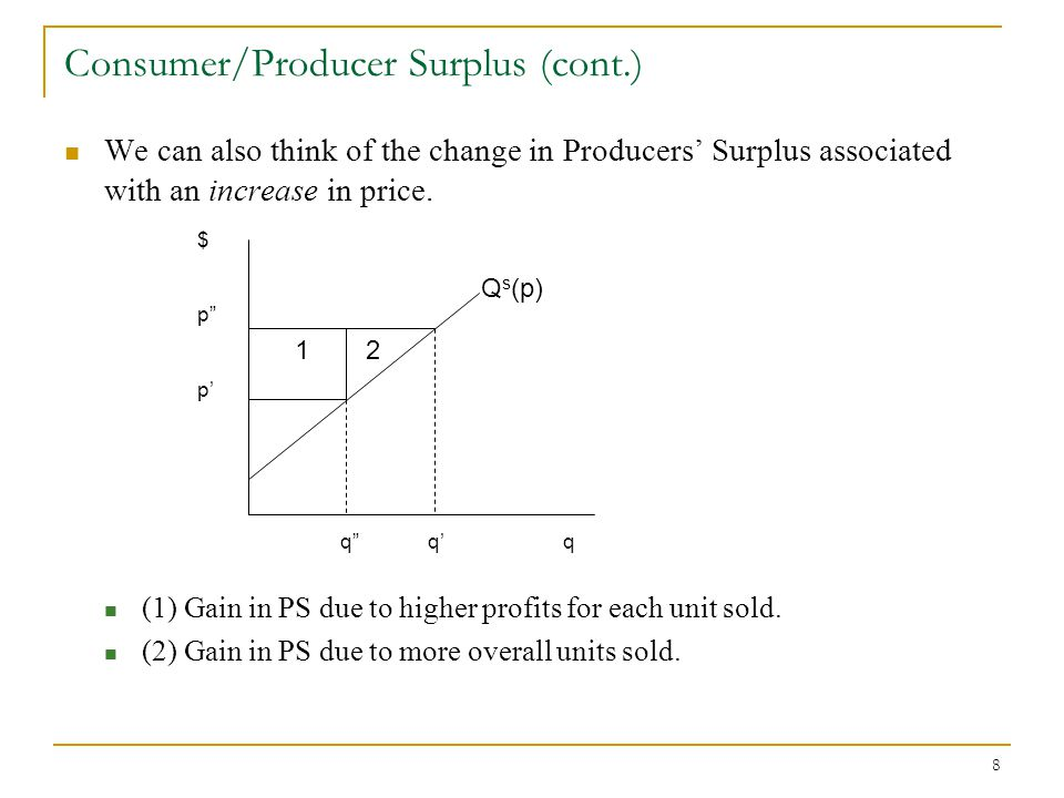 8 Consumer/Producer Surplus (cont.) We can also think of the change in Producers Surplus associated with an increase in price.