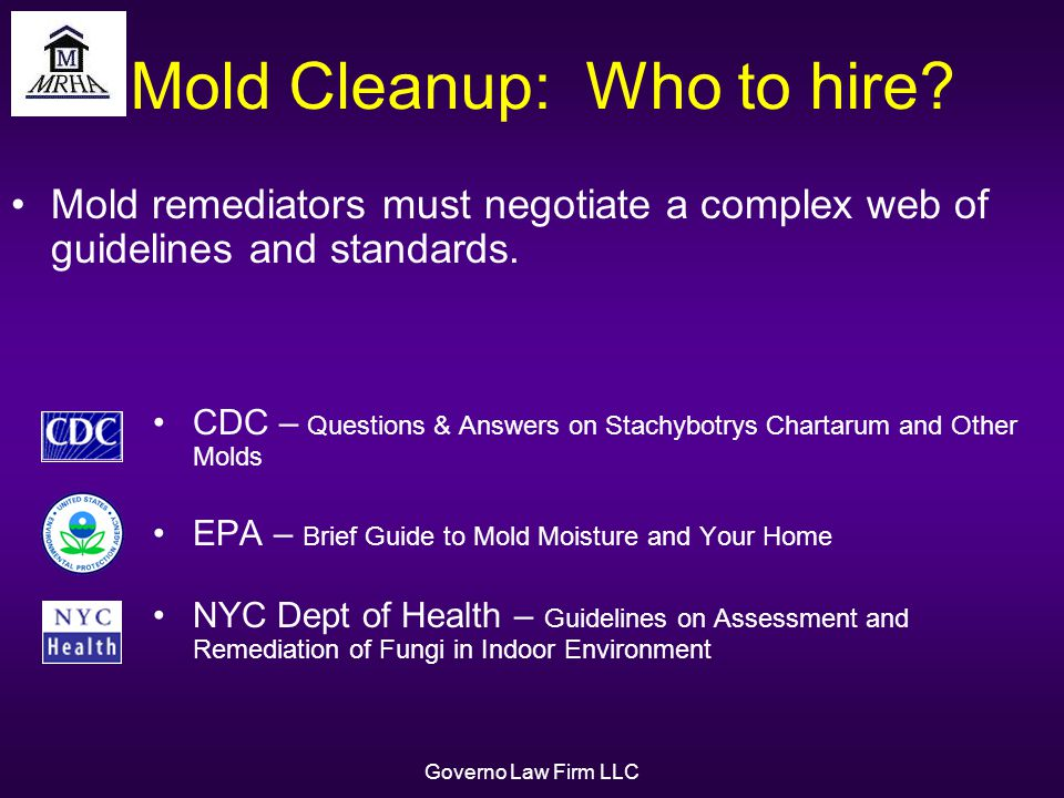 Governo Law Firm LLC Mold Cleanup: Who to hire.