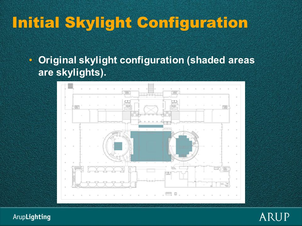 Initial Skylight Configuration Original skylight configuration (shaded areas are skylights).