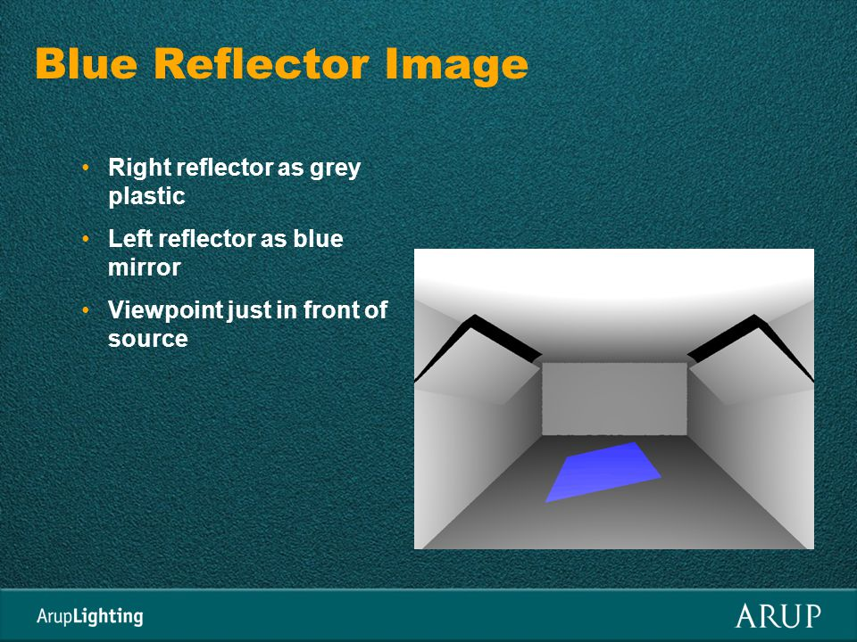 Blue Reflector Image Right reflector as grey plastic Left reflector as blue mirror Viewpoint just in front of source