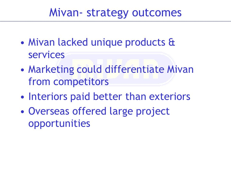 Mivan- strategy outcomes Mivan lacked unique products & services Marketing could differentiate Mivan from competitors Interiors paid better than exter
