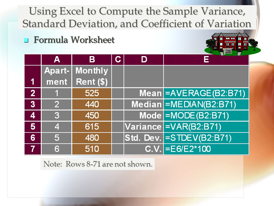 Using Excel to Compute the Sample Variance, Standard Deviation, and Coefficient of Variation n Formula Worksheet Note: Rows 8-71 are not shown.