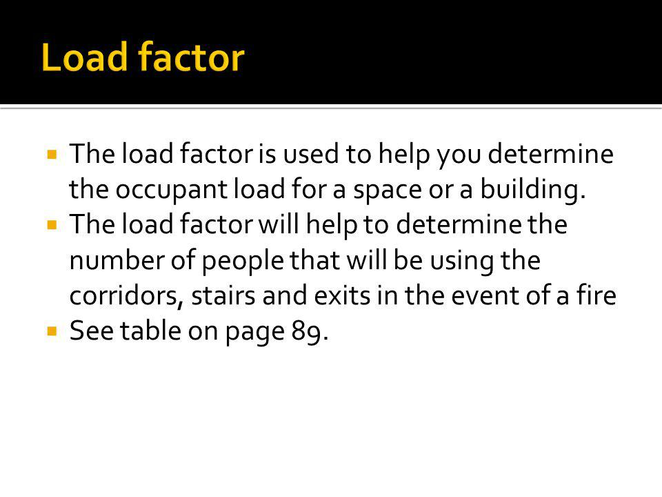 The load factor is used to help you determine the occupant load for a space or a building. The load factor will help to determine the number of people