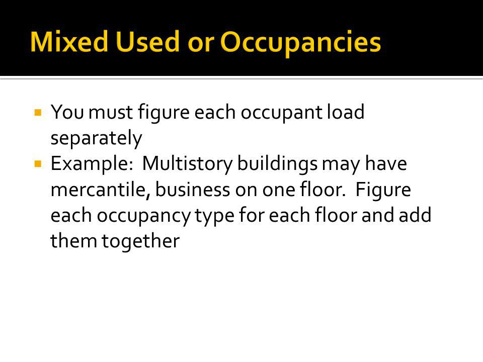 You must figure each occupant load separately Example: Multistory buildings may have mercantile, business on one floor. Figure each occupancy type for