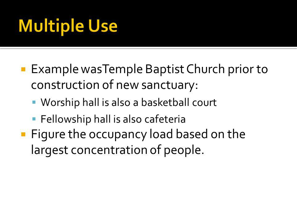 Example wasTemple Baptist Church prior to construction of new sanctuary: Worship hall is also a basketball court Fellowship hall is also cafeteria Fig