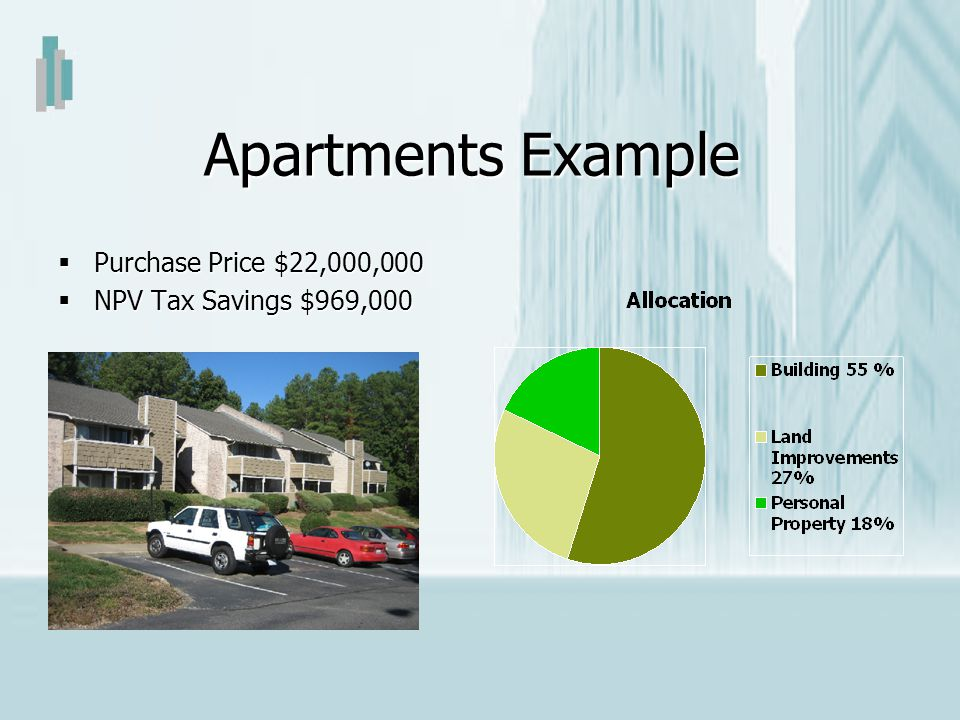 Apartments Example Purchase Price $22,000,000 Purchase Price $22,000,000 NPV Tax Savings $969,000 NPV Tax Savings $969,000