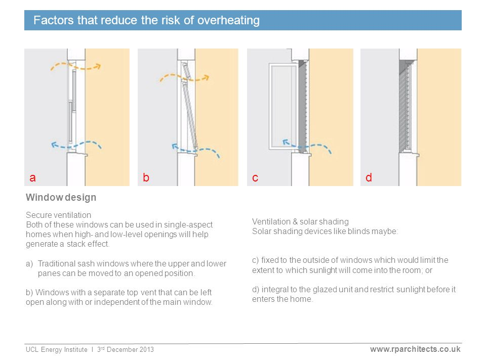 www.rparchitects.co.uk UCL Energy Institute I 3 rd December 2013 Factors that reduce the risk of overheating Window design Secure ventilation Both of these windows can be used in single-aspect homes when high- and low-level openings will help generate a stack effect.