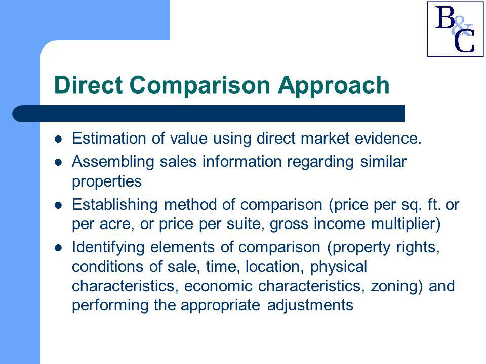 Direct Comparison Approach Estimation of value using direct market evidence. Assembling sales information regarding similar properties Establishing me