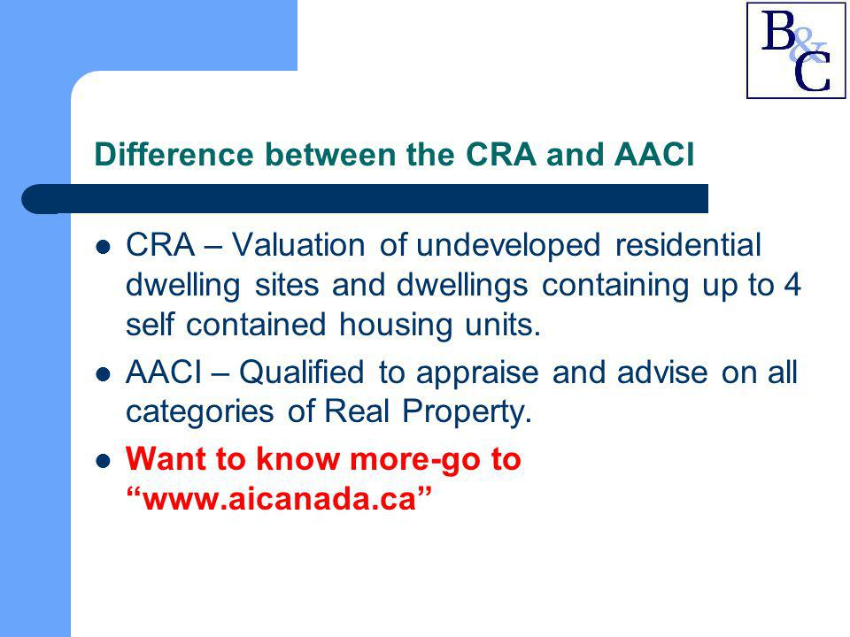 Understanding an Appraisal Report continued… Description of Improvements – Type of construction, building area, net leasable area, building age, interior and exterior finishing, effective age and remaining economic life, site improvements, and photographs.