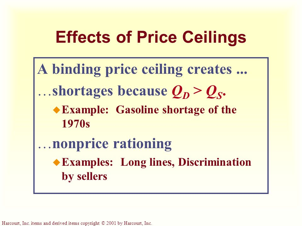 Effects of Price Ceilings A binding price ceiling creates... shortages because Q D > Q S. u Example: Gasoline shortage of the 1970s nonprice rationing