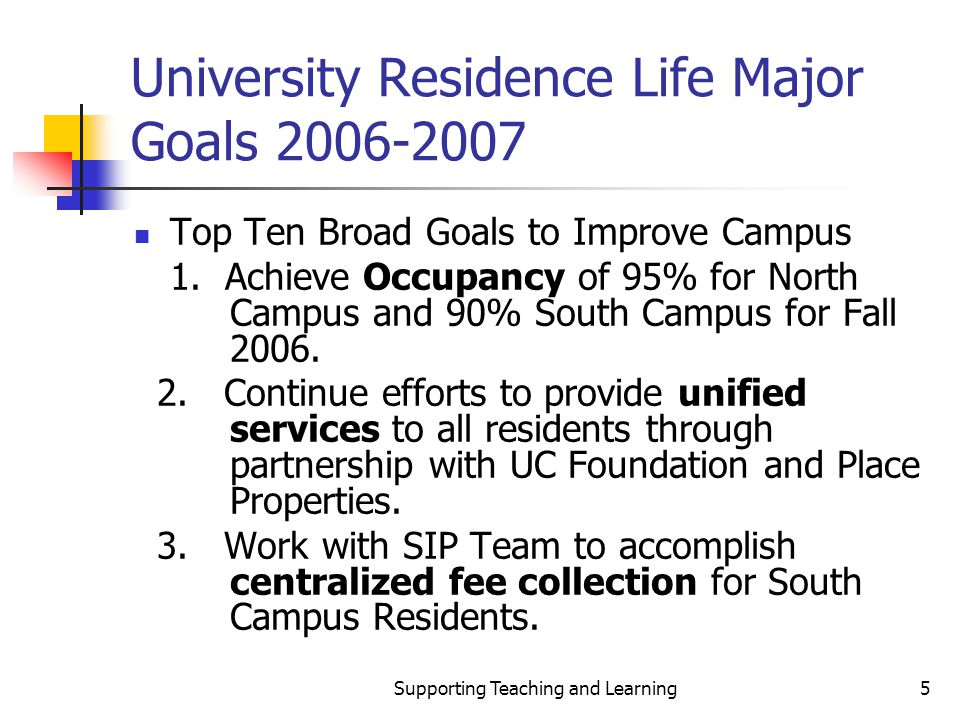 Supporting Teaching and Learning5 University Residence Life Major Goals 2006-2007 Top Ten Broad Goals to Improve Campus 1.