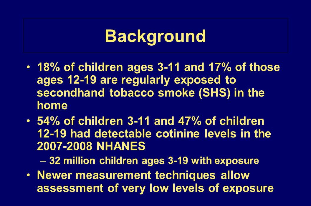 Background 18% of children ages 3-11 and 17% of those ages 12-19 are regularly exposed to secondhand tobacco smoke (SHS) in the home 54% of children 3
