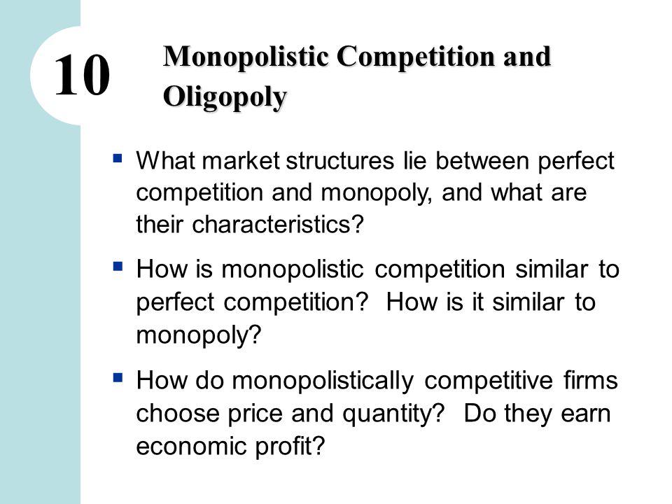 A Comparison of Market Outcomes When firms in an oligopoly individually choose production to maximize profit, Q is greater than monopoly Q but smaller than competitive market Q P is greater than competitive market P but less than monopoly P