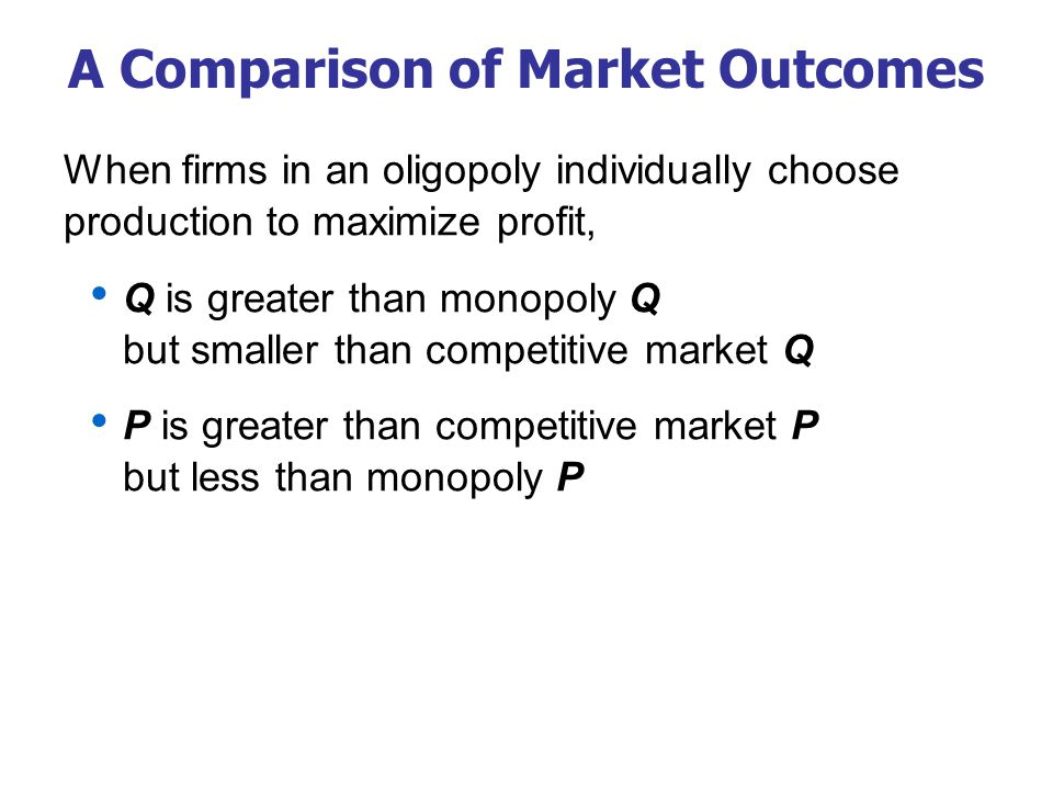 A Comparison of Market Outcomes When firms in an oligopoly individually choose production to maximize profit, Q is greater than monopoly Q but smaller