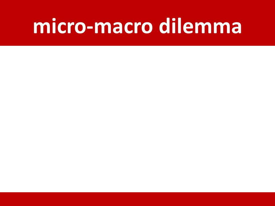 micro-macro dilemma