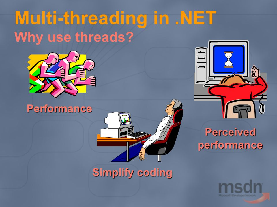 Multi-threading in.NET Why use threads Performance Perceivedperformance Simplify coding