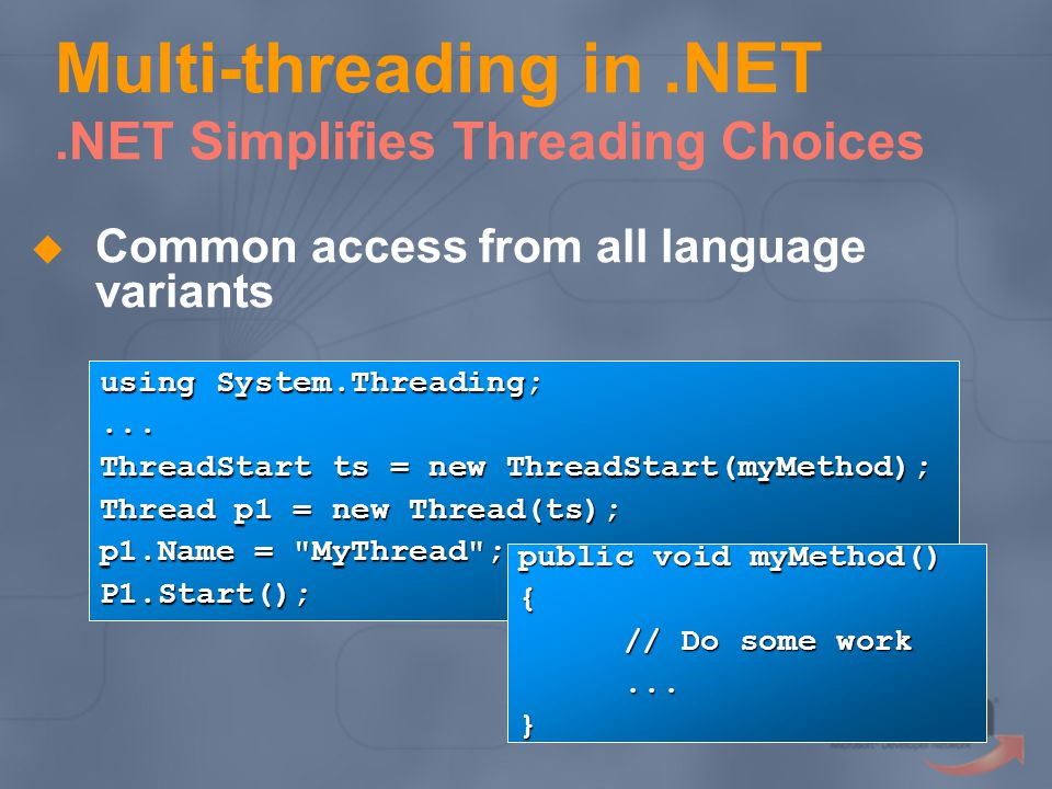 Multi-threading in.NET.NET Simplifies Threading Choices Common access from all language variants using System.Threading;...