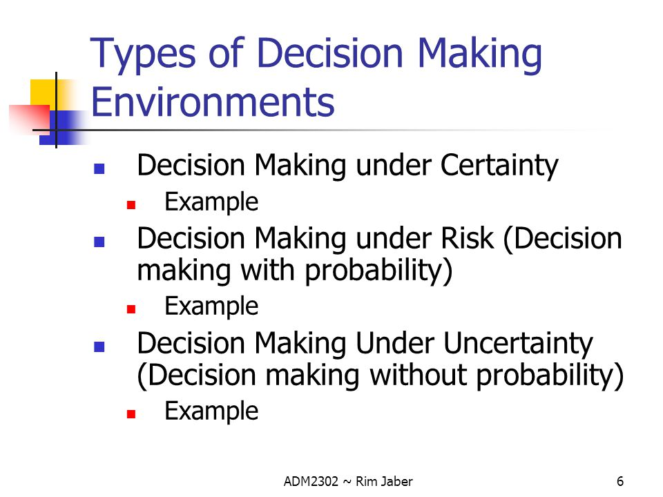 ADM2302 ~ Rim Jaber17 Decision Maker must first estimate the probability of occurrence of each state of nature (prior probabilities) Once these estimates have been made, then the decision criterion mentioned can be applied Decision Making Under Risk- Contd