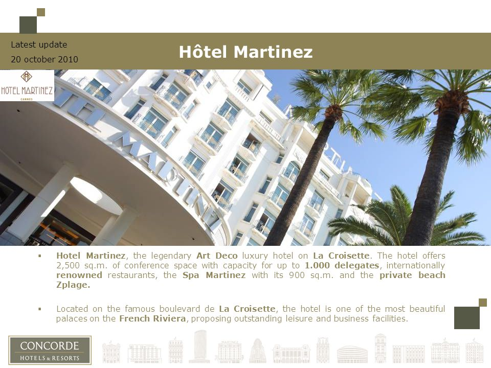 Hotel Martinez, the legendary Art Deco luxury hotel on La Croisette.