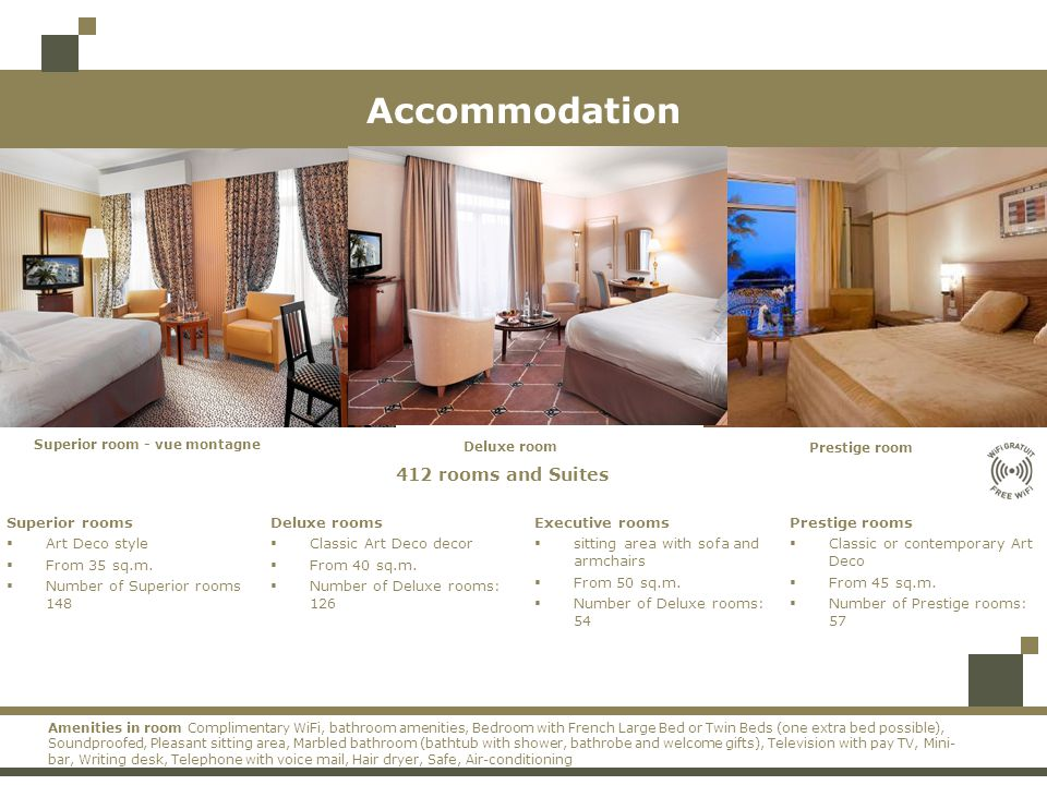 Accommodation 412 rooms and Suites Superior rooms Art Deco style From 35 sq.m.