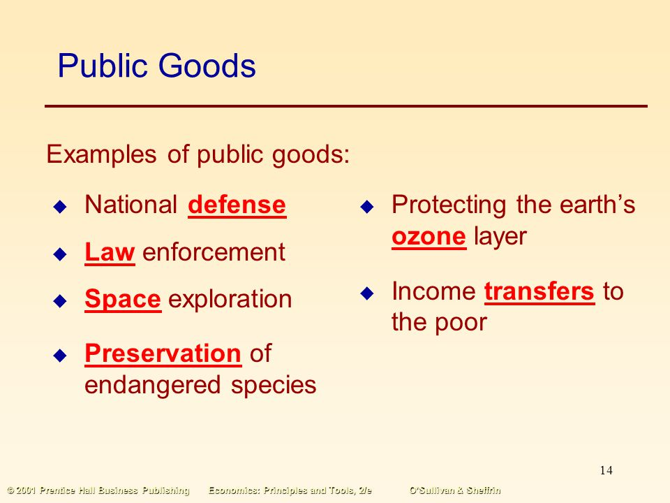 13 © 2001 Prentice Hall Business PublishingEconomics: Principles and Tools, 2/eOSullivan & Sheffrin Public Goods Public goods are nonrival in consumpt
