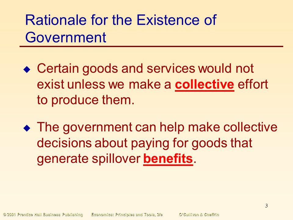2 © 2001 Prentice Hall Business PublishingEconomics: Principles and Tools, 2/eOSullivan & Sheffrin Overview of Government Providing public goods and s