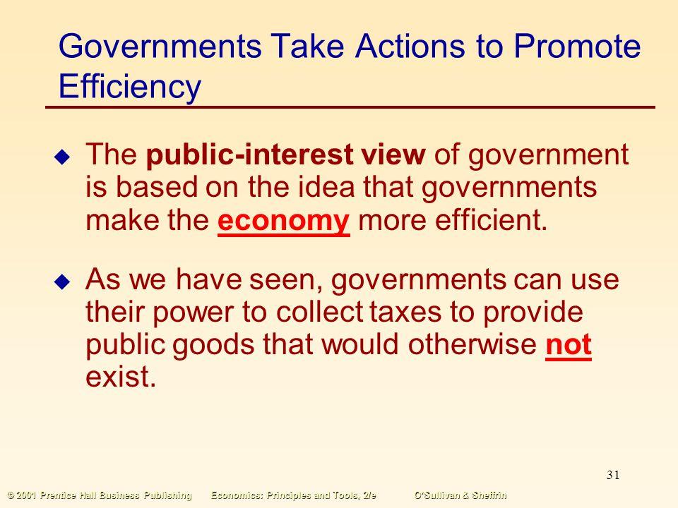 30 © 2001 Prentice Hall Business PublishingEconomics: Principles and Tools, 2/eOSullivan & Sheffrin Public Choice Public choice economics is a field o