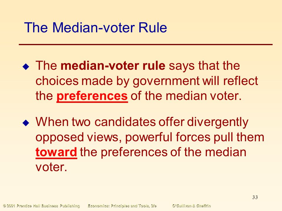 32 © 2001 Prentice Hall Business PublishingEconomics: Principles and Tools, 2/eOSullivan & Sheffrin Voters Tell Governments What to Do Voters affect g