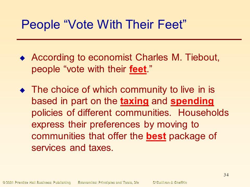 33 © 2001 Prentice Hall Business PublishingEconomics: Principles and Tools, 2/eOSullivan & Sheffrin The Median-voter Rule The median-voter rule says t