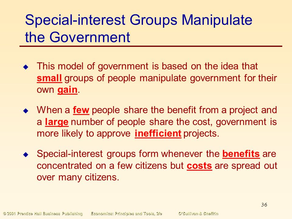 35 © 2001 Prentice Hall Business PublishingEconomics: Principles and Tools, 2/eOSullivan & Sheffrin Government Officials Pursue Their Own Self-Interes
