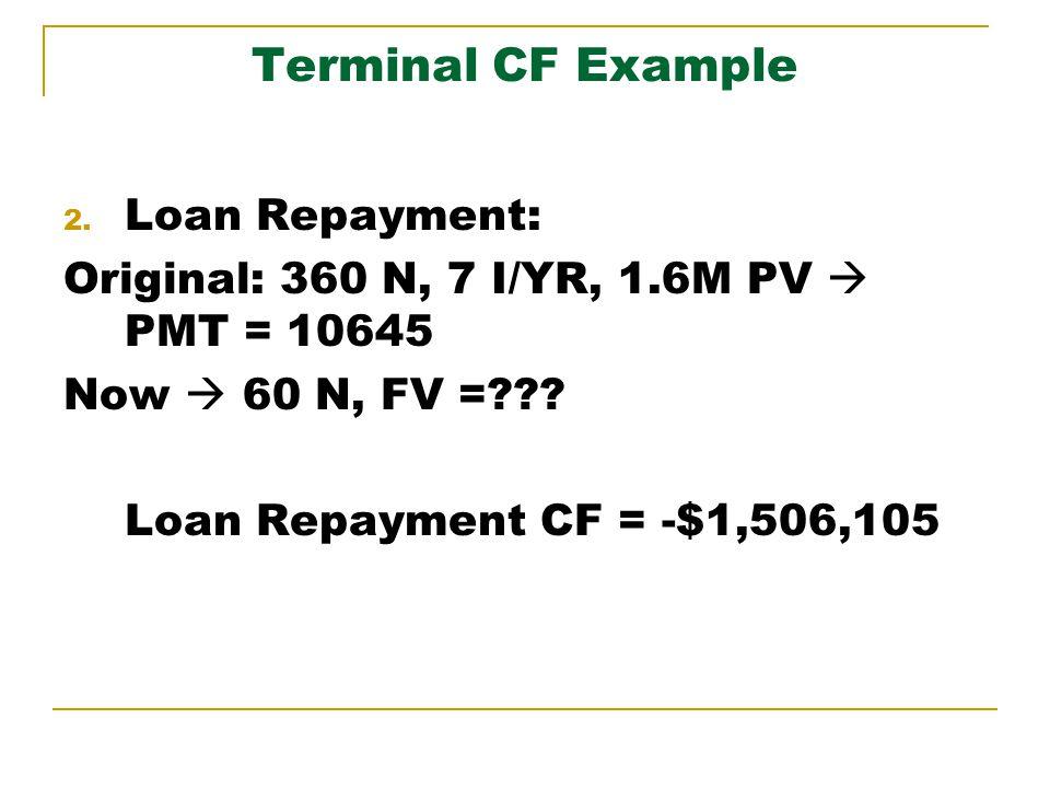 Terminal CF Example 2. Loan Repayment: Original: 360 N, 7 I/YR, 1.6M PV PMT = 10645 Now 60 N, FV =??? Loan Repayment CF = -$1,506,105