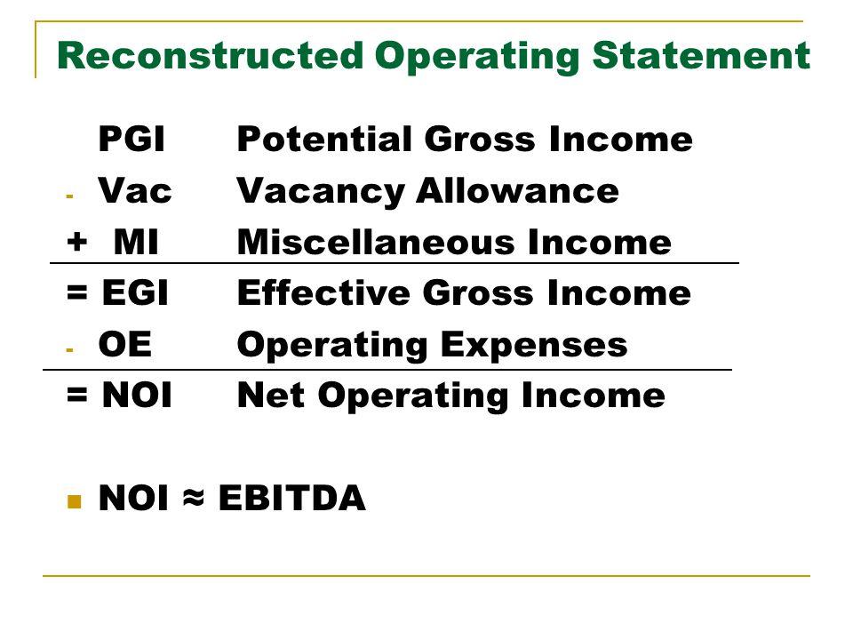 Getting to CFs NOI EBITDA Depreciation expense Interest expense, Debt PMT Taxes