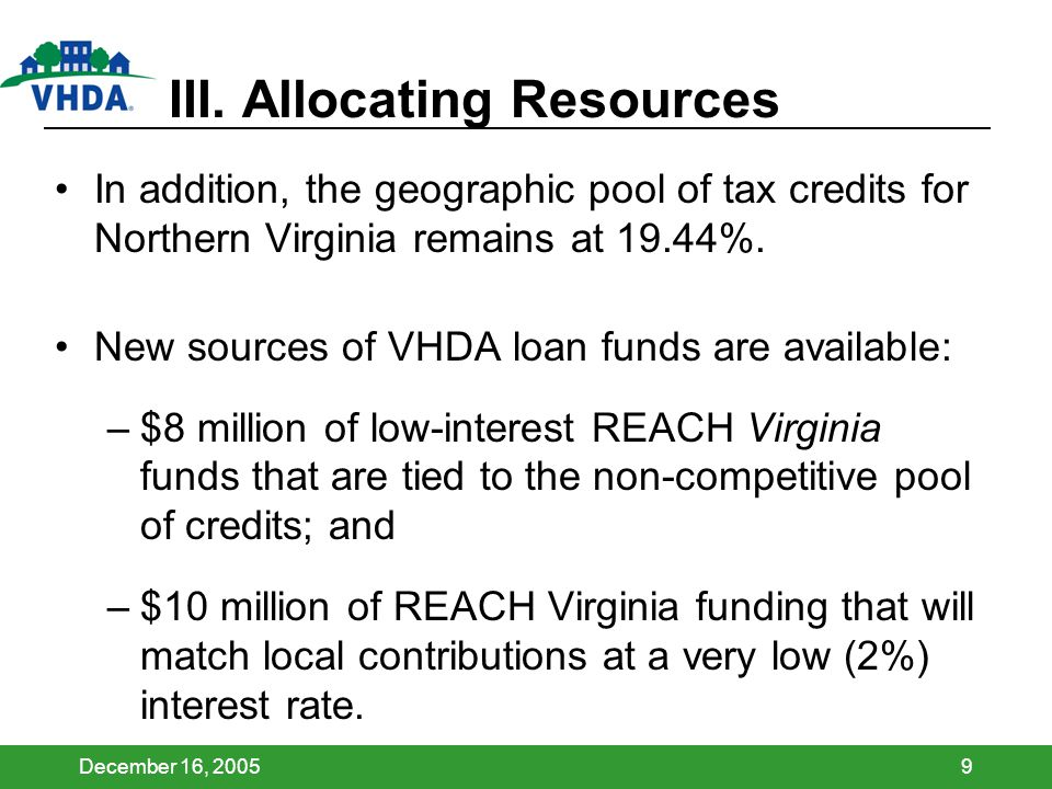December 16, 20059 III. Allocating Resources In addition, the geographic pool of tax credits for Northern Virginia remains at 19.44%. New sources of V
