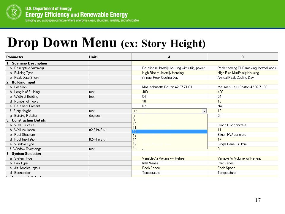 Drop Down Menu (ex: Story Height) 17