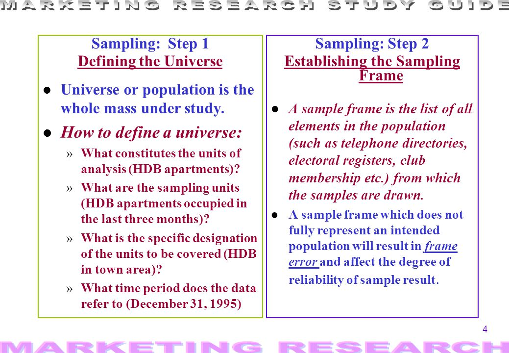 4 Sampling: Step 1 Defining the Universe l Universe or population is the whole mass under study. l How to define a universe: »What constitutes the uni