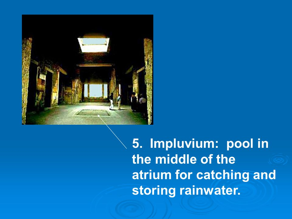 5. Impluvium: pool in the middle of the atrium for catching and storing rainwater.