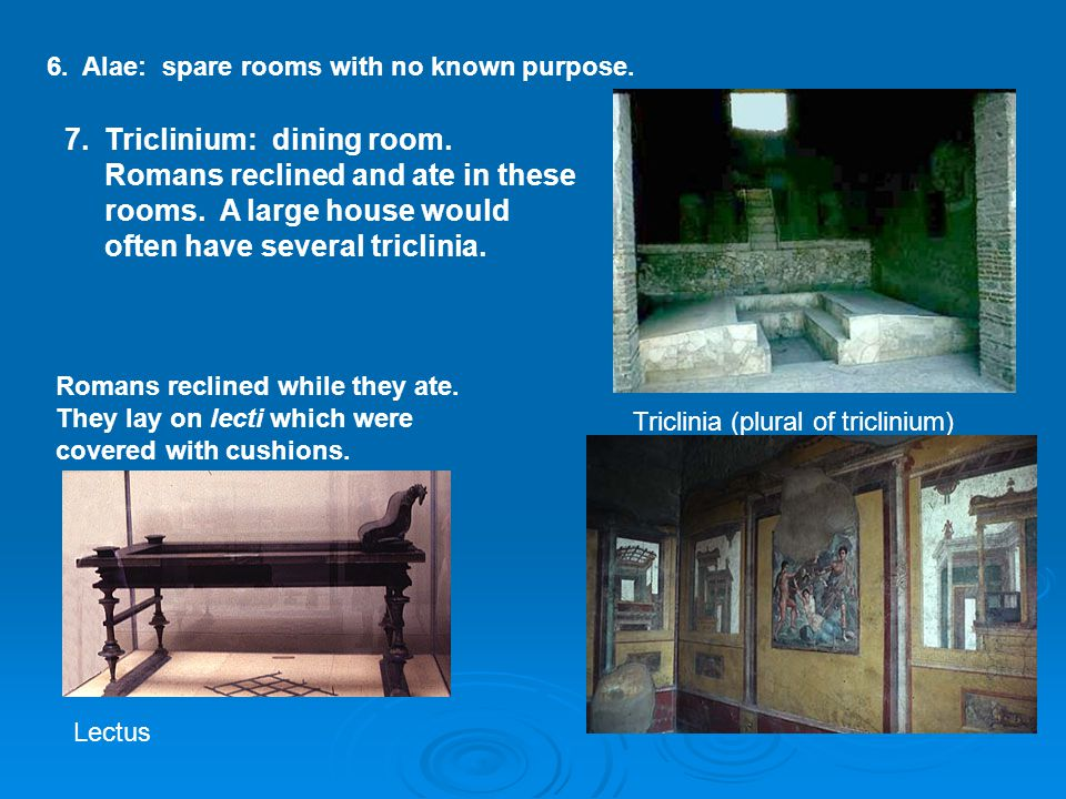 6. Alae: spare rooms with no specific use. 6. Alae: spare rooms with no known purpose. Triclinia (plural of triclinium) 7.Triclinium: dining room. Rom