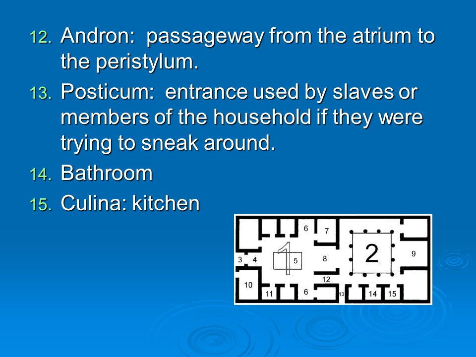 12. Andron: passageway from the atrium to the peristylum. 13. Posticum: entrance used by slaves or members of the household if they were trying to sne