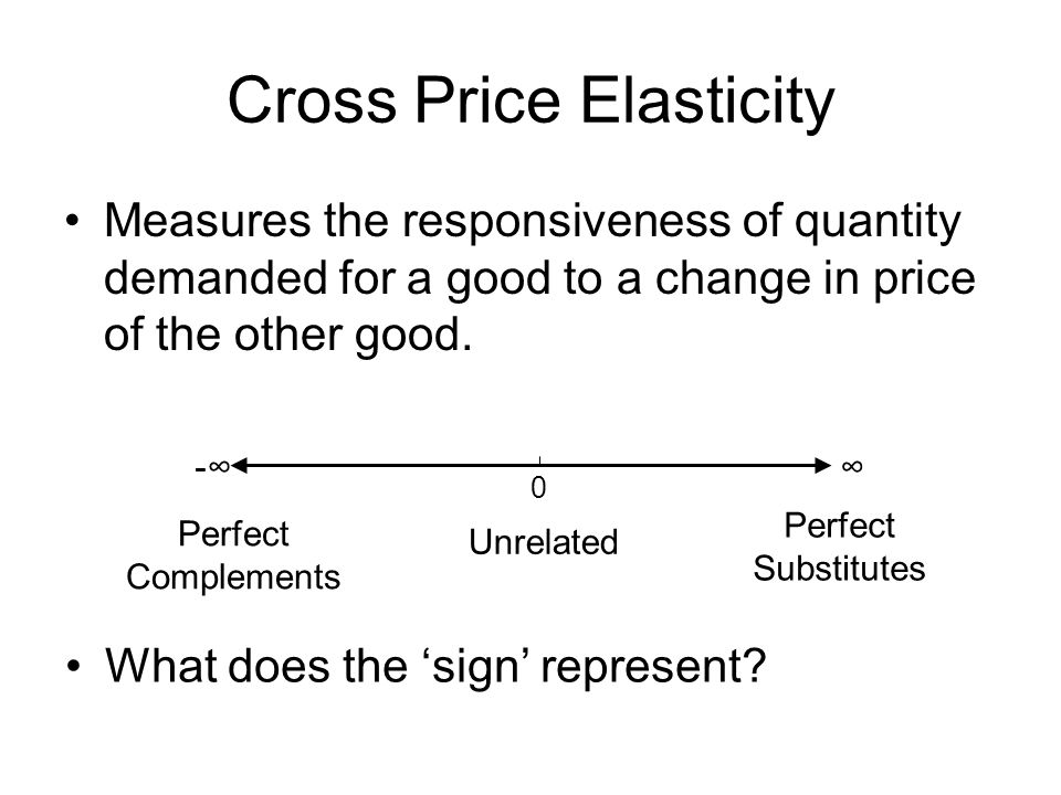 Cross Price Elasticity Measures the responsiveness of quantity demanded for a good to a change in price of the other good. - 0 Perfect Complements Unr