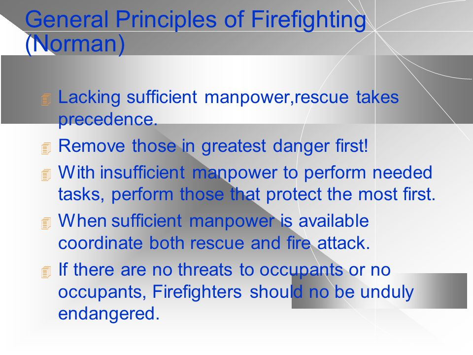 Strategic Concepts In Firefighting (McAniff) OFFENSIVE: Direct attack at seat of fire. Normally at Incipient Stage, this solves all problems. OFFENSIV